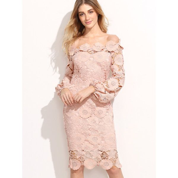 SheIn(sheinside) Embroidered Lace Overlay Lantern Sleeve Bardot Dress (140 RON) ❤ liked on Polyvore featuring dresses, pink, sexy summer dresses, long sleeve party dresses, pink long sleeve dress, floral embroidered dress and long-sleeve maxi dresses