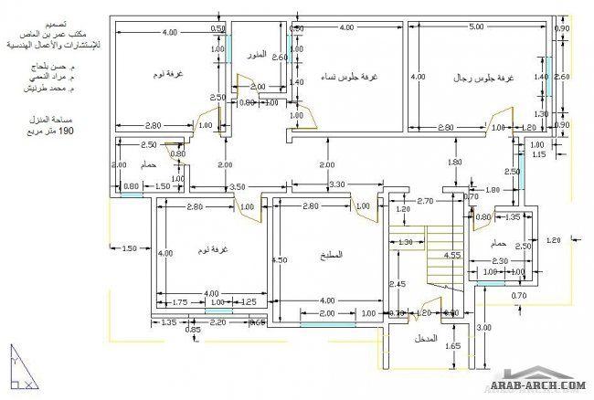 تصميم المنزل بمساحه 190 متر مربع المخطط دور واحد مكتب عمرو بن العاص للاستشارات House Layout Plans House Layouts Floor Plans