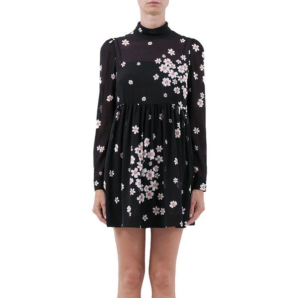 Red Valentino Muslin dress with Daisies print ($870) ❤ liked on Polyvore featuring dresses, black, black dress, short black dresses, black turtleneck, long sleeve turtleneck and black turtleneck dress