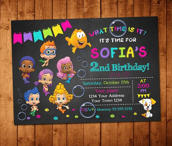 Bubble Guppies Invitation Bubble Guppies Chalkboard by SmileParty