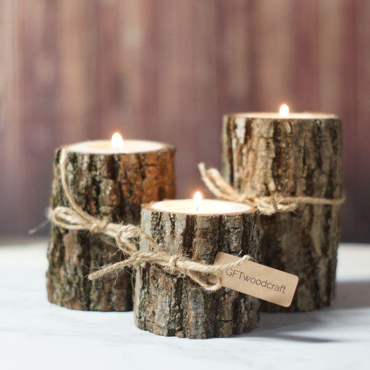 Burlap & Twine Log Candle Holder Set of 3 Rustic Tea-Light holders - Rustic Centerpiece
