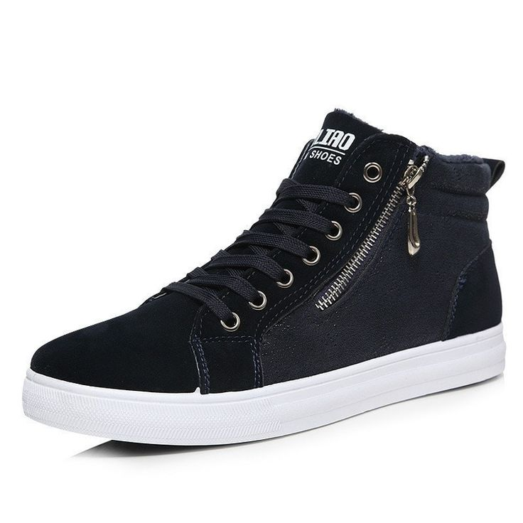 Men's Casual Suede Fashion Zip High-Top Shoes 2 Colors
