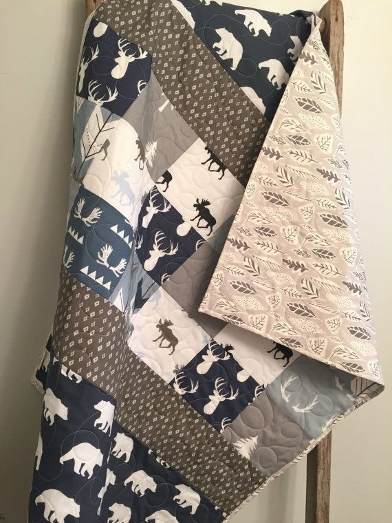 Baby Blanket Buck Quilt Antler Bedding Deer Stag Hunting Navy Boy Quilts Gift