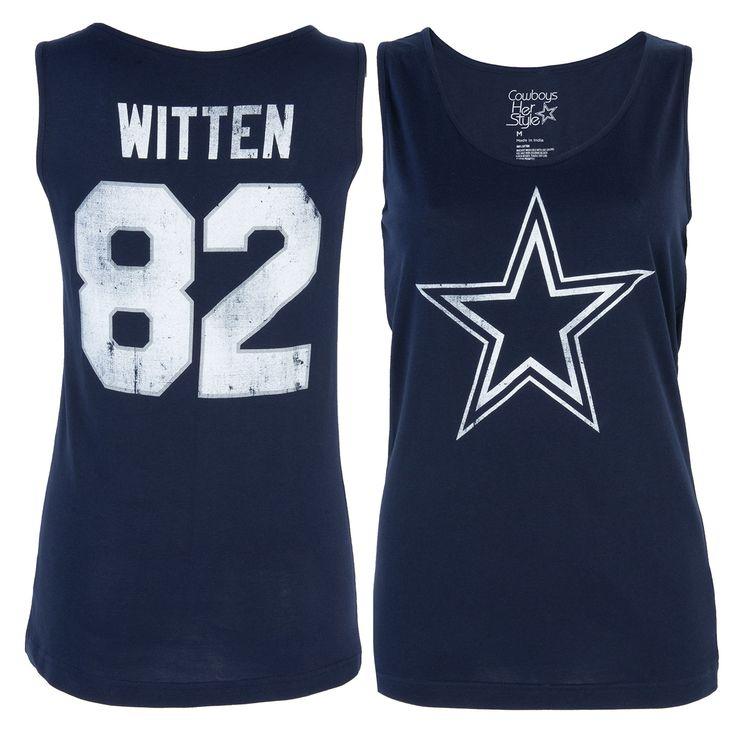 Women's Jason Witten Navy Dallas Cowboys Player Name & Number Tank Top