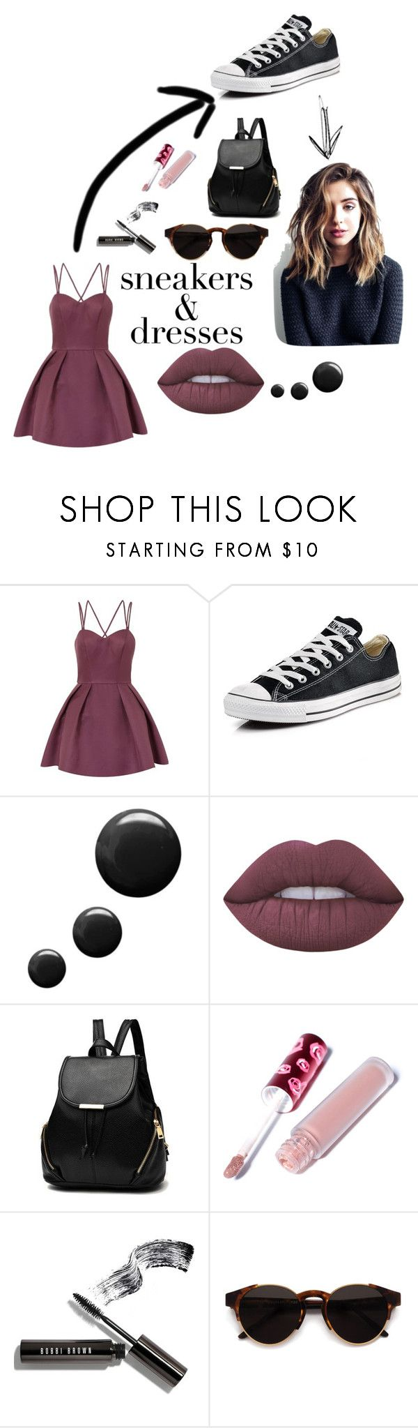 """"" by ally-bel ❤ liked on Polyvore featuring Chi Chi, Converse, Topshop, Lime Crime, Bobbi Brown Cosmetics and RetroSuperFuture"