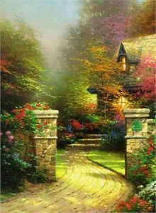 Rose Gate ~ Thomas Kinkade  amazing how he did this detail!   sad he is gone, I bet his paintings are worth a bit now