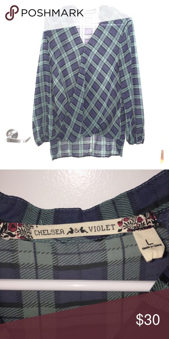 Chelsea & Violet Long Sleeve Blouse Square pattern with turquoise, navy and black shades Chelsea & Violet Tops Blouses