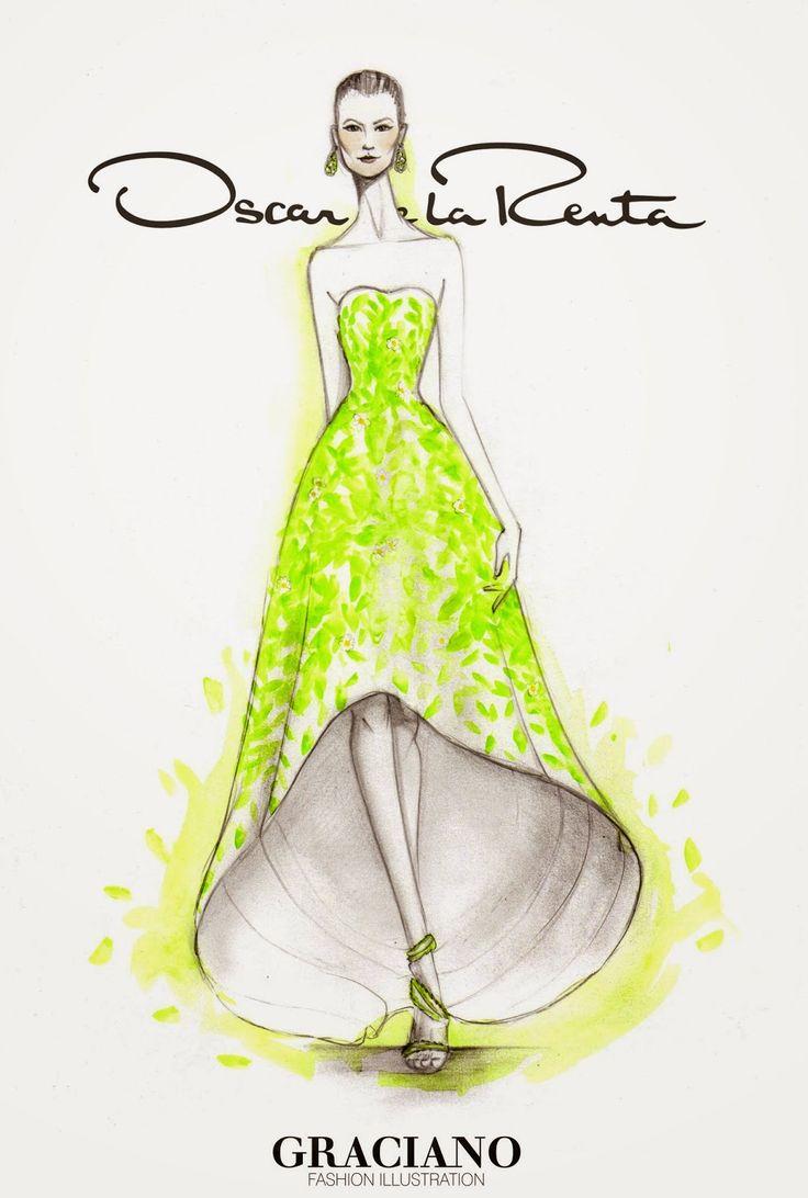 GRACIANO fashion illustration: OSCAR DE LA RENTA SPRING 2015 #NYFW