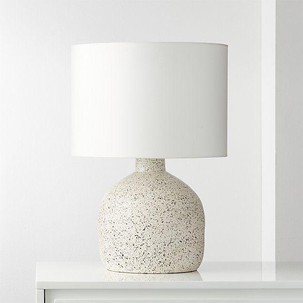 Cb2 Largo Speckled White Ceramic Table Lamp Modern Table Lamp Concrete Table Lamp Contemporary Table Lamps