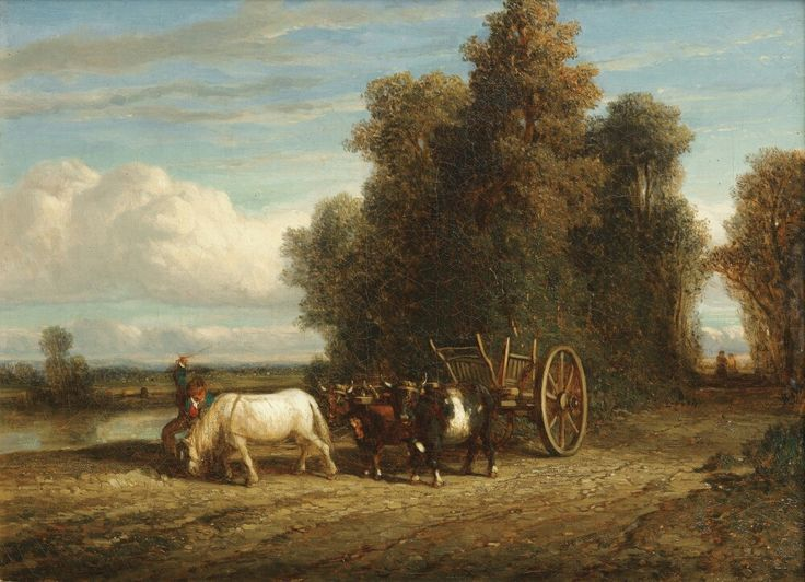 Constant Troyon, Barbizon, Horse And Carriage, 9 5/8 x 12 3/4, oil on canvas