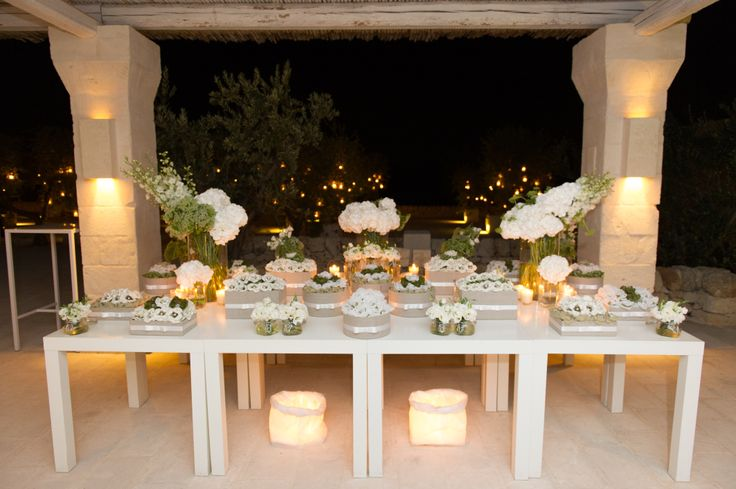 Linen, white and olive green wedding sweet table styled by www.villadolce.co.uk