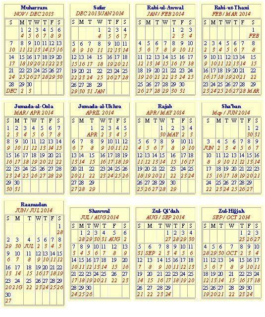 New Islamic Calendar 2014 – Hijri & Gregorian Calendar 1435