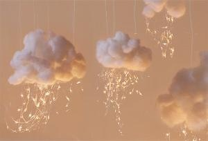 Cotton clouds! great baby shower decor idea