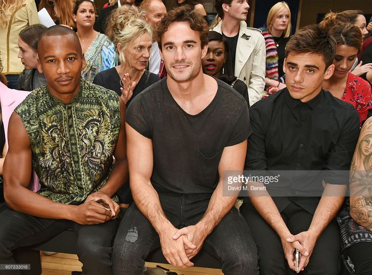 Foxes, Eric Underwood, Thom Evans and Chris Mears attend the Julien Macdonald runway show during London Fashion Week Spring/Summer collections 2017 on September 17, 2016 in London, United Kingdom.