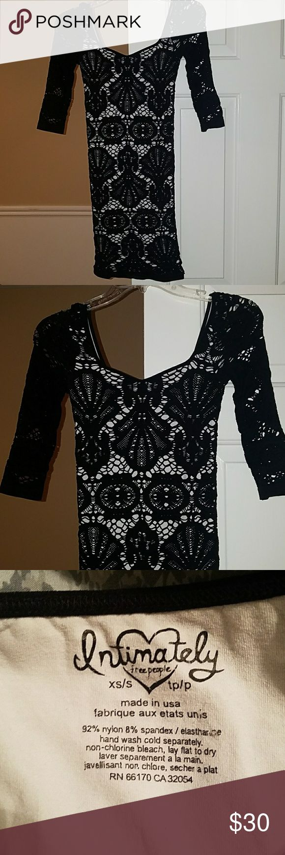 Free People Black and White Crochet Bodycon Dress Size XS/S Free People Dresses