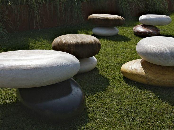 Garden Pouf PAVEu0027 STONE OUTDOOR   Kreoo