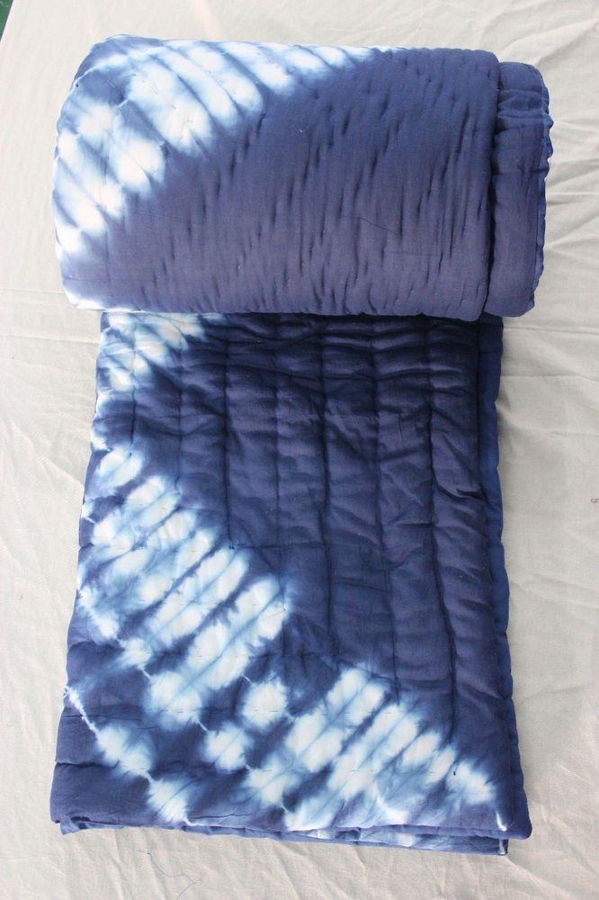 Exclusive Jaipuri Razai Authentic Shibori Print Indigo Blue Cotton Filling Quilt