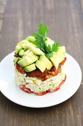 Stacked Cobb Salad.  This can be customized to the size you want, by the size of the ring mold you use.  Perfect idea for small, individual salads.