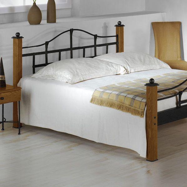 metallbett im landhausstil aus eiche 180x200 cm sinja
