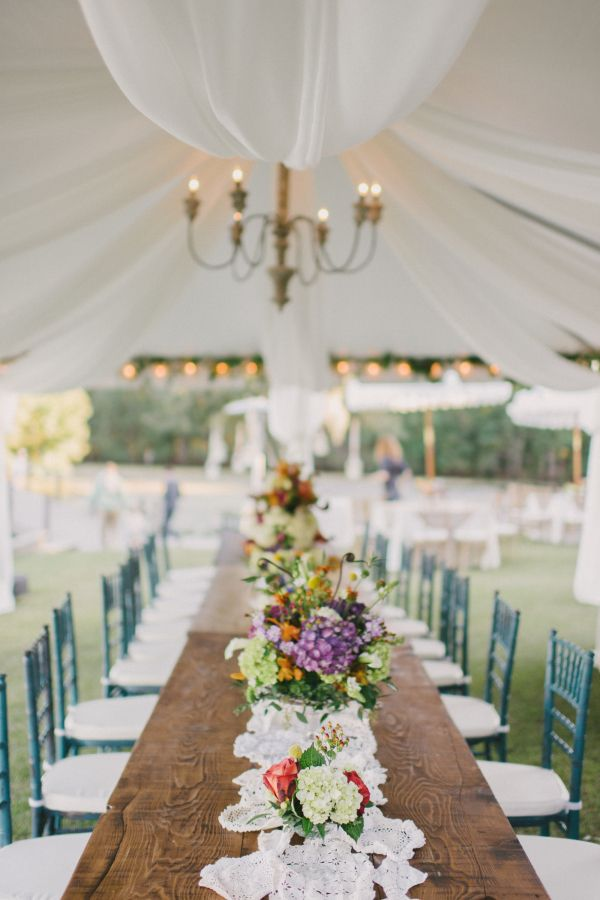 Tent Wedding Reception with Purple Flowers | photography by http://www.seanmoney-elizabethfay.com/
