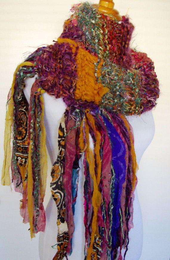 Funky Knit Scarf Sari Chiffon Ribbon Fringy Accents Hand