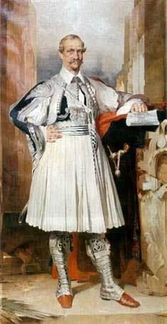 Ολόσωμο πορτραίτο του Βασιλιά Όθωνα με φουστανέλα. Έργο του Νικηφόρου Λύτρα.  Portait of King Otto wearing the fustanella costume by Nikiforos Lytras.