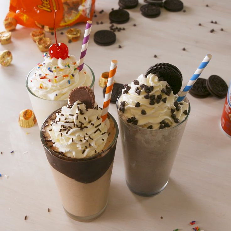 Milkshakes are the perfect novelty desserts and this milkshake is the perfect milk to ice cream ratio. If you prefer thicker milkshakes either up the ice cream or decrease the milk. While your mix-in options are endless, we think the two below are pretty perfect.  #easyrecipe #milkshake #drink #dessert #icecream