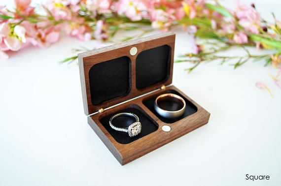 Double Ring Box Wedding Ring Box Ring Bearer Box Flat Etsy Double Ring Box Ring Box Wood Ring Box