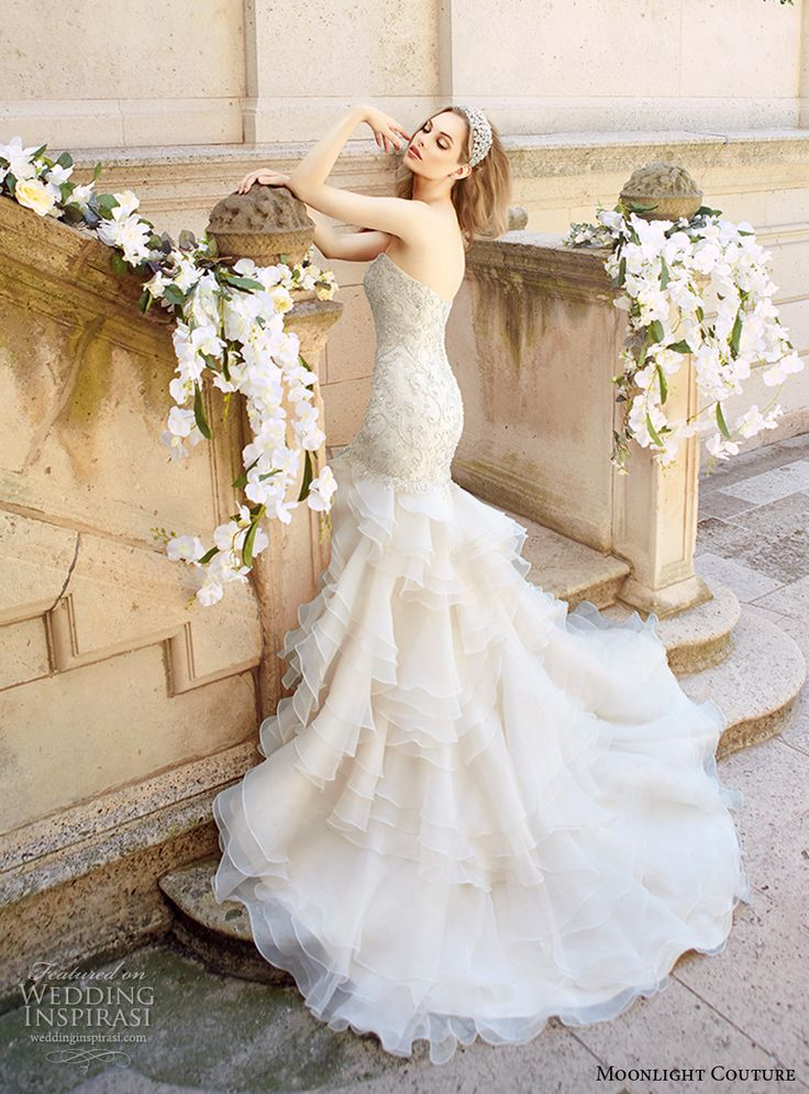moonlight couture spring 2017 bridal strapless sweetheart neckline heavily embellished bodice tiered skirt glamorous mermaid wedding dress chapel train (h1327) bv -- Moonlight Couture Spring 2017 Wedding Dresses