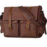 Wowbox 17 Inch Men's Messenger Bag Vintage Canvas Leather Satchel bag Military Shoulder Laptop Bags Bookbag Working Bag for Men and Women(Coffee)