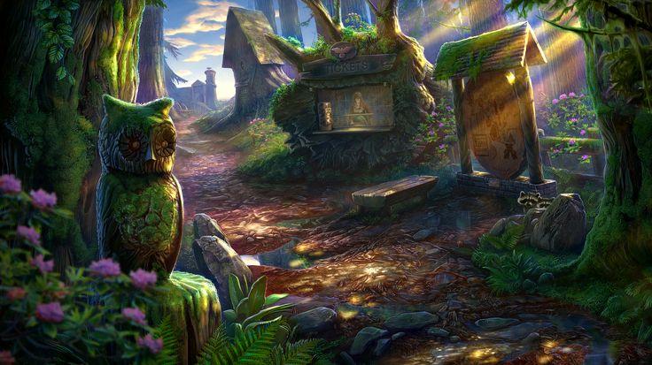 Enigmatis: The Mists of Ravenwood - Sunny Square www.artifexmundi.com/page/enigmatis2 #owl #raven #bird #ravenwood #redwood #park #game #adventure https://www.facebook.com/ArtifexMundi.Enigmatis