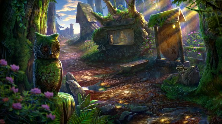 Enigmatis: The Mists of Ravenwood - Sunny Square www.artifexmundi.com/page/enigmatis2 #owl #raven #bird #ravenwood #redwood #park #game #adventure https://www.facebook.com/ArtifexMundi.Enigmatis