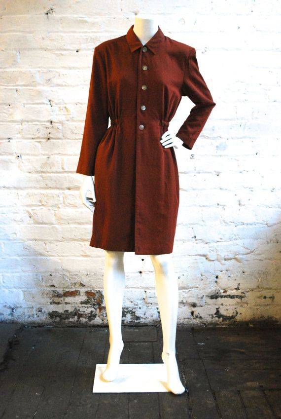 Brown Structured Dress by xHarvestMoonVintagex on Etsy