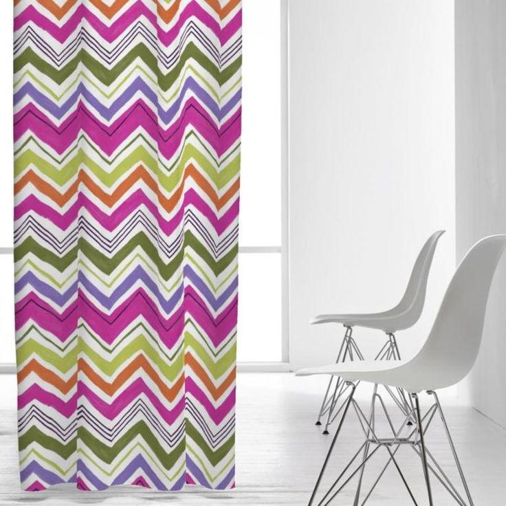 cortina con dibujo geomtrico en forma de zigzag cortina juvenil multicolor glos de kusbe