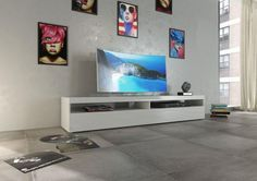Burrata modern TV cabinet in white gloss finish, optional lights