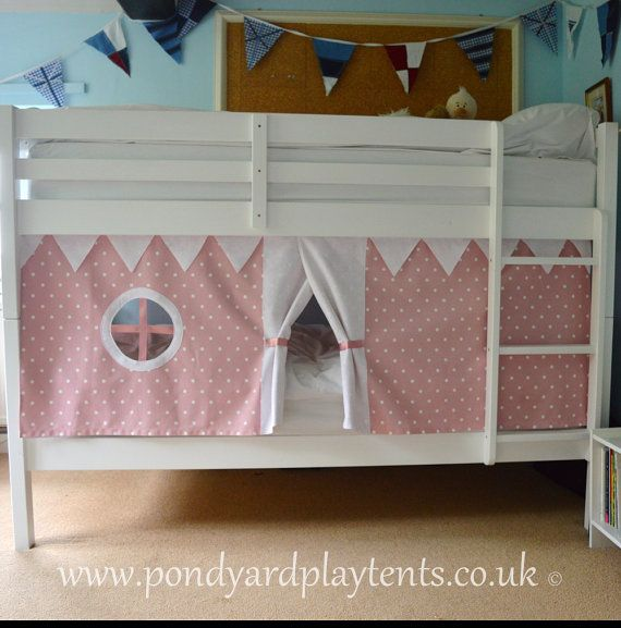 Pink Dotty bunk bed tent. Create a secret hideaway to inspire imaginative and creative play. Free shipping to UK! Hand made. Standard size