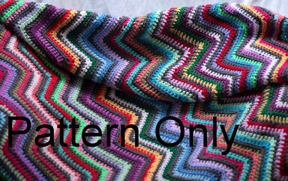 Crochet ripple blanket pattern by ChocolateDogStudio on Etsy, $5.00