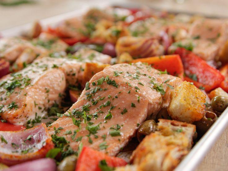Spanish Baked Salmon recipe from Ree Drummond via Food Network Pioneer woman. 5 ingredient sheet pan dinner