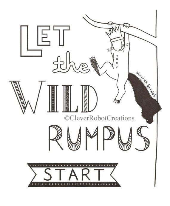 picture relating to Let the Wild Rumpus Start Printable identified as The place The Wild Components Are Hand Drawn E book Quotation Print: \