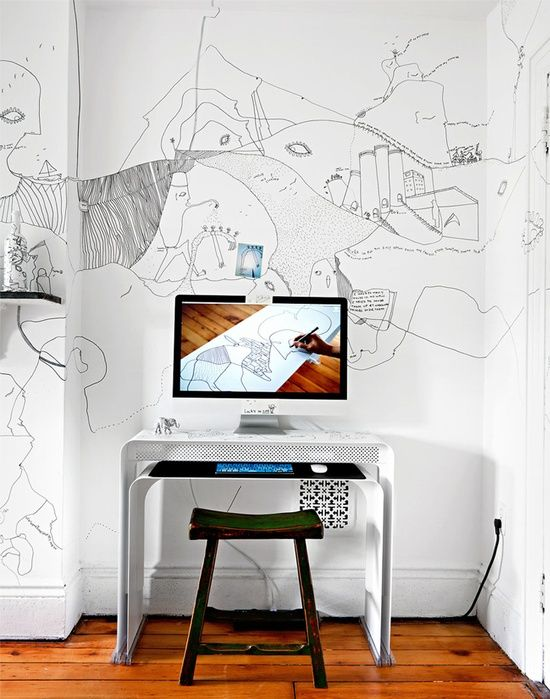 work space w/ wall painting