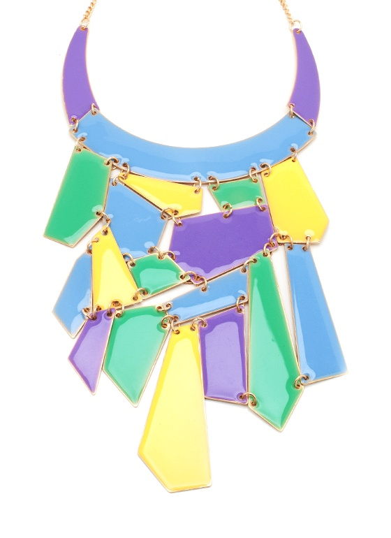 yellow + green + violet: Violets Necklaces, Pastel Cerveza Tennis, Colorblock Necklaces, Neon, Green And Yellow Fashion, Mos Accessories, Colors Blocks, Chunky Colors, Chunky Necklaces