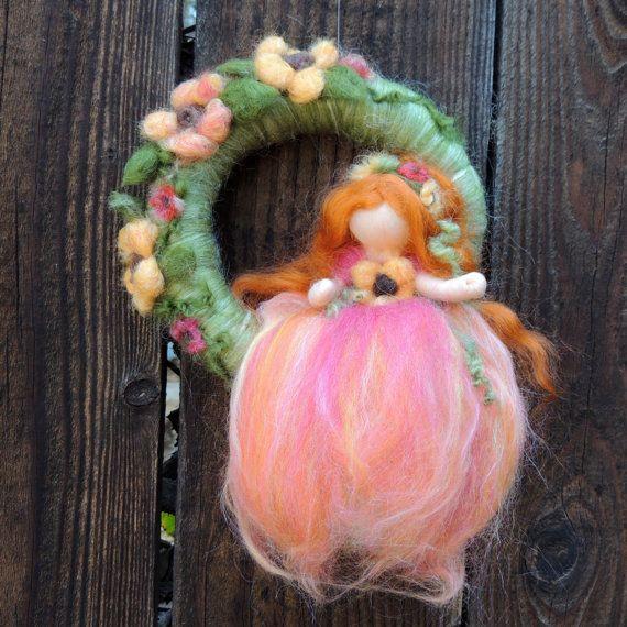 Sunflowr Felt fairy Fairy Wreath with Sunflower Fairy by Nushkie, $48.00