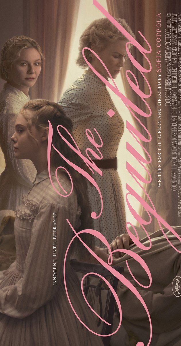 Directed by Sofia Coppola.  With Nicole Kidman, Kirsten Dunst, Elle Fanning, Colin Farrell. The unexpected arrival of a wounded Union soldier at a girls school in Virginia during the American Civil War leads to jealousy and betrayal.
