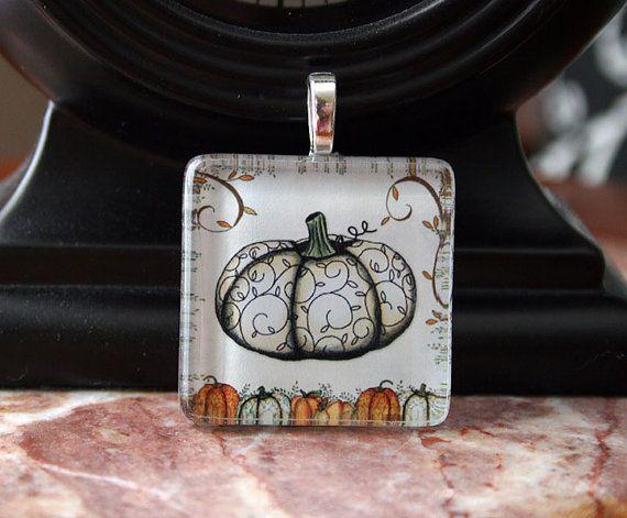 Fall Pumpkin Glass Pendant