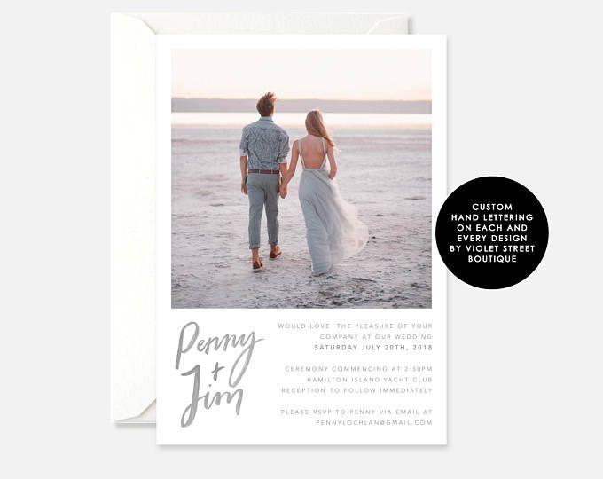 Printable PDF Photo Wedding Invitation, Modern Wedding Invitation, Hamilton Island Wedding Invitation, Printable Indie Wedding Invitation