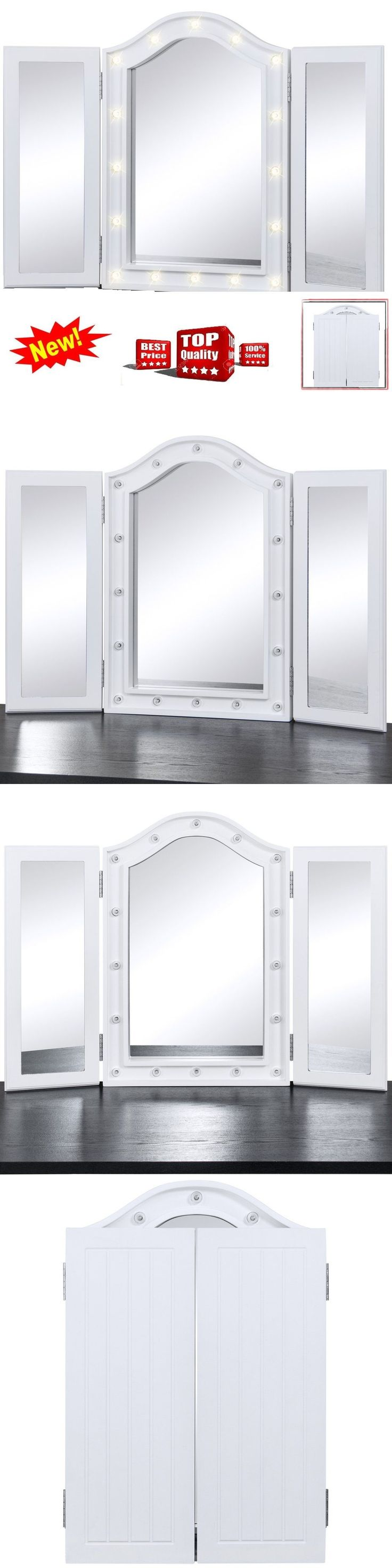 Makeup Mirrors: Led Lighted Tri-Fold Mirror Vanity Tabletop Lights Reflect Hollywood Makeup Fold -> BUY IT NOW ONLY: $63.7 on eBay!