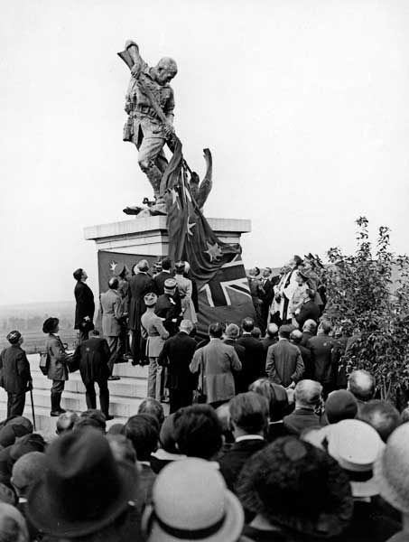 The unveiling of the Second Australian Division Memorial, which featured an ANZAC soldier bayonetting a dying German eagle, by Marshal Ferdinand Foch, Mont St Quentin, France, 30 August 1925. Apparently the German Army didn't appreciate this memorial, because they pulled it down when they occupied France in World War II.