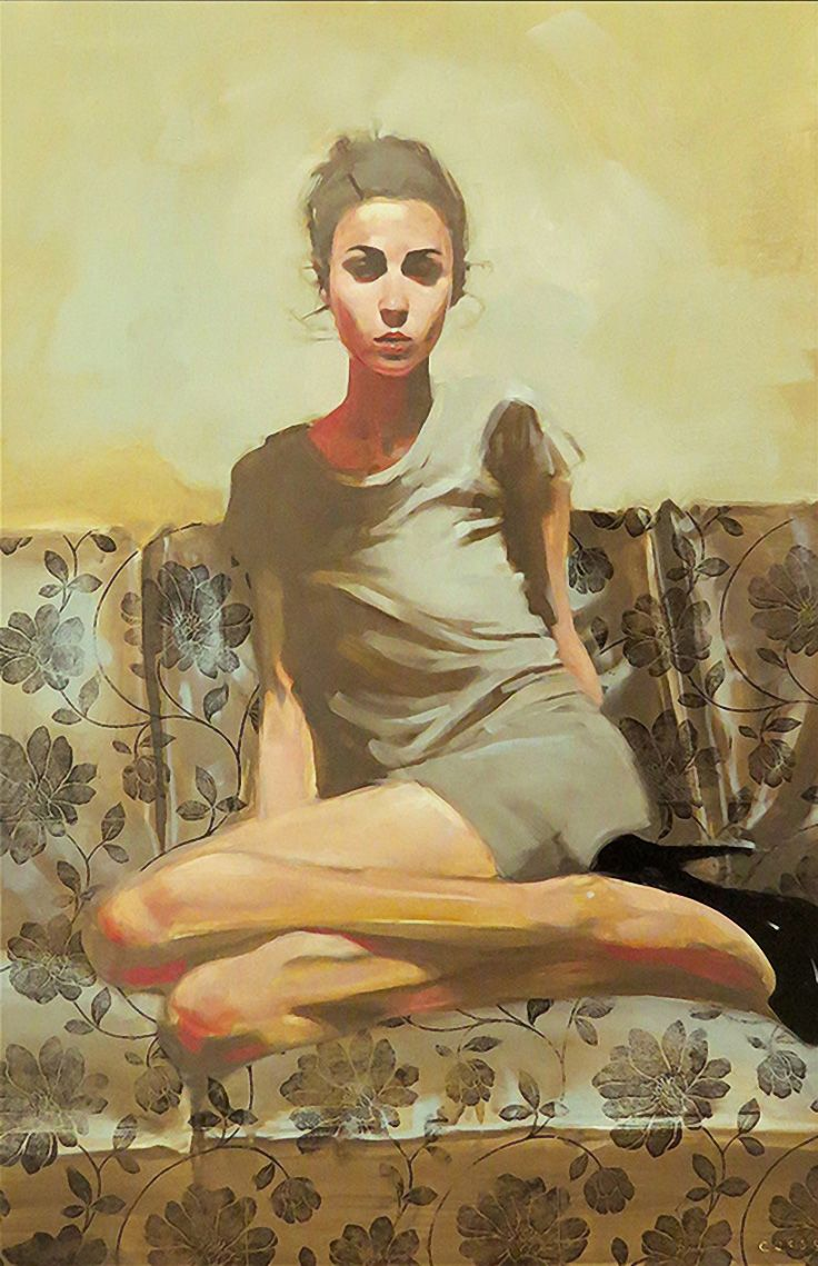 """Flower"" - Michael Carson {figurative #impressionist art beautiful female seated with stilettos on sofa woman painting #loveart}"