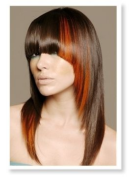 brunette hairstyles with highlight chunk bangs - Google Search