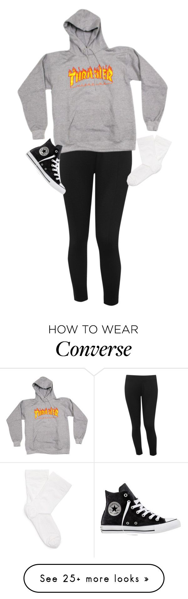 """Lena"" by slutify on Polyvore featuring M&Co, Wolford and Converse"